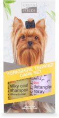Groene Greenfields Yorkshire Terrier Care Set - Hondenvachtverzorging - 2 x 250 mm Geel