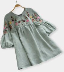 Newchic Embroidery Bubble Sleeve Vintage Plus Size Blouse