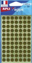 Witte Agipa Ronde Etiketten In Etui Diameter 8 Mm, Goud, 308 Stuks, 77 Per Blad