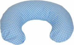Merkloos / Sans marque Voedingskussen - Zwangerschapskussen - 100% katoen - 80 cm - blauw geruit