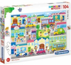 Clementoni Legpuzzel - Supercolor Puzzel Collectie - In the city - 104 stukjes, puzzels kinderen