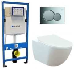 Douche Concurrent Geberit UP 320 Toiletset - Inbouw WC Hangtoilet Wandcloset - Creavit Mat Wit Rimfree Geberit Sigma-01 Glans Chroom