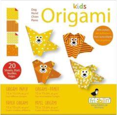 Fridolin Kids Origami: HOND 15x15cm, met zelfklevers, 20 bladen met 4 verschillende tekeningen en zelfklevers, 6+