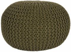 Donkergroene LABEL51 Poef 'Knitted', 50 x 35cm, kleur Groen