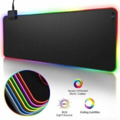 Zwarte DrPhone QWR Muismat – 300x800x4mm - Muismat – RGB LED Verlichting – Gaming – Anti-Slip - Waterproof - Mousepad – Extra groot