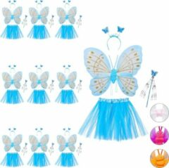 Blauwe Relaxdays 10x fee kostuum kinderen - vlindervleugels - kinderkostuum - toverstaf – diadeem