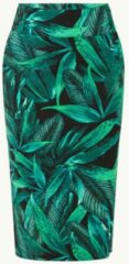 Groene Expresso Ebelle midi kokerrok met bladprint en split