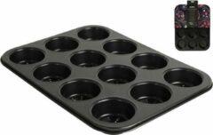 Zwarte Premium oven ware Gusta Muffin Bakvorm Geperforeerd 12-Vaks