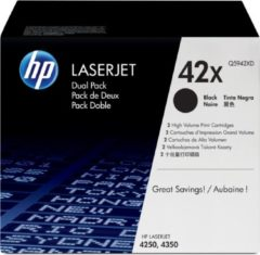 Zwarte HP 42XD LaserJet originele toner cartridge zwart high yield 2 x 20.000 pagina s 2-pack