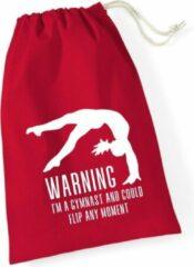 Sparkle&Dream Leertjes/Lusjes Tasje 'Warning Gymnast' Rood, voor turnen en gymnastiek