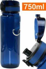 Drinkfles Herbruikbare Waterfles | 750 ml Donkerblauw | Vaatwasserbestendig Drinkbus Bidon | King Mungo KMDF014
