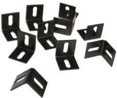 Merkloos / Sans marque L-ophanghaken zwart - set van 10 stuks