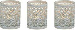Merkloos / Sans marque 3x stuks waxinelicht/theelicht houder zilver antiek 7 cm - Woonaccessoires/woondecoraties kaarsenhouders