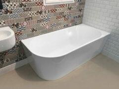 Aqualine Tibera vrijstaand hoekbad glans wit 170x80cm rechts