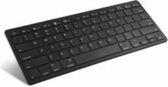 Zwarte Qitrex Ultra Slim Dun Ergonomisch Plat Toetsenbord Draadloos | Bluetooth Toetsenbord voor Tablet Telefoon Computer Laptop | Klein Toetsenbord | Mini Toetsenbord Draadloos | Compact Toetsenbord | Dun Toetsenbord