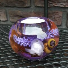 Paarse Herinnering in Glas Glasobject Waxinelicht Lavendel Waxinelichthouder 8x8x6 cm