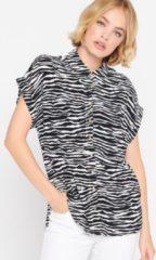 Zwarte LOLALIZA Hemd met luipaardprint Dames Tuniek Maat 38