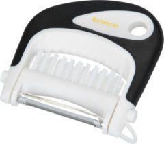 Enrico Multi Peeler 3 in 1 Aardappel Tool RVS Zwart – 8x9cm | Dunschiller Borstel en Ontpitter in 1 | Schilmesje met Roestvrijstalen Mesjes