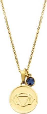 Afbeelding van Donkerblauwe CO88 Collection Chakra 8CN 26052 Stalen Collier met Hanger - Third Eye Chakra en Kristal - Lengte 42 + 5 cm - Goudkleurig / Donker Blauw