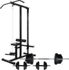 Zwarte VidaXL Krachttoren met halterset 60,5 kg