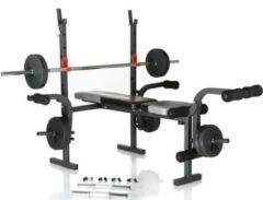 Grijze Hammer Fitness Hammer BERMUDA verstelbare halterbank - inclusief gewichten
