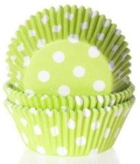 Groene House of Marie Cupcake Cups Limoen Groen met Stip 50x33mm. 50st.