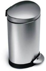 Zilveren Simplehuman Semi-Round Pedaalemmer 6 Liter Vingerafdrukvrij