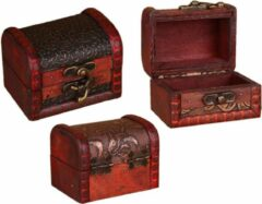 Wood, Tools & Deco Set van 5 klassieke houten kistjes, kadodoosjes