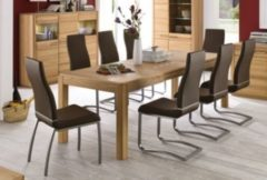 Esstisch 160 x 90 cm Kernbuche teilmassiv mit 8 Stühlen Kunstleder braun MCA-Furniture Sena/ Lana I+II