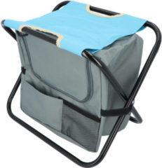 Groene Hanse® Kampeerkruk met koeltas Blauw/Grijs - 42x28x36 cm - Visstoel