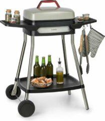 Beige Klarstein Gatsby Elektrische barbecue 2000W , Rvs grillkap met antiaanbaklaag en cool touch handvat , praktische zijtafel van 20 x 32 cm , Thermostaat met indicatorlampje