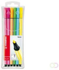 STABILO Pen 68 Neon, etui van 6 stiften in geassorteerde kleuren