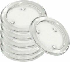 Transparante Trend Candles 6x Ronde kaarsenhouders/kaars onderzetters van glas 14 cm - Glazen kaarsenhouderss voor stompkaarsen tot 10 cm doorsnede - Woondecoraties