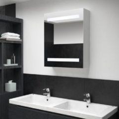 Zilveren VidaXL Badkamerkastje met spiegel en LED 50x14x60 cm