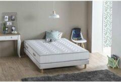 Witte DEKO DREAM Set matras + boxspring 140 x 190 - Schuim - 19 cm - 5 zones - Firm - MAINE
