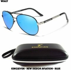 Wialy KingSeven - New Design Aviation Blue - Aluminium piloten zonnebril met gepolariseerde UV400 glazen - Z92
