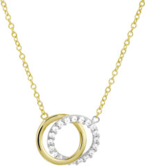 Zilveren The Jewelry Collection The Fashion Jewelry Collection Ketting Rondjes Zirkonia 1,3 mm 40 - 44 cm - Bicolor Goud