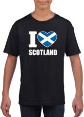 Shoppartners Zwart I love Schotland supporter shirt kinderen - Schots shirt jongens en meisjes L (146-152)