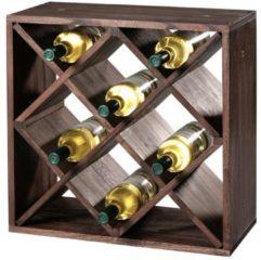 Donkerbruine Decopatent FSC® Houten Wijnflessen legbordsysteem voor 20 wijn flessen | Wijnrek | Flessenrek | Wijn rek | Materiaal: Grenen Hout | Afm. 50 x 50 x 25 Cm.