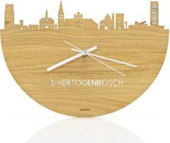 Bruine WoodWideCities Skyline Klok Den Bosch Eikenhout - Ø 40 cm - Woondecoratie - Wand decoratie woonkamer