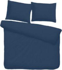 Donkerblauwe ISleep Satijnstreep Dekbedovertrek - Litsjumeaux - 240x200/220 cm - Donker Blauw