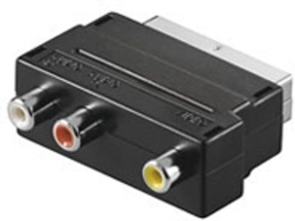 Afbeelding van Scart plug with IN/OUT switch > 3 x RCA jack - Goobay