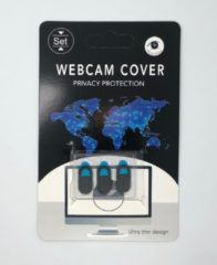 Zwarte *Allme* webcam cover, universeel, 3in1, bescherm uw privacy! ULTRA DUN!