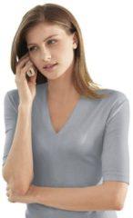 Grijze Casual Looks shirt met korte mouwen en V-hals