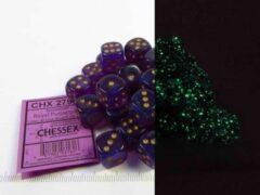 Paarse Steve Jackson Games Set 36 6-zijdig, 12mm Borealis Luminary - Royal Purple w/gold