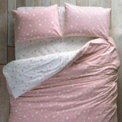 Hibboux hoeslaken Star katoen 160x200 hoek 35cm wit/roze sterren