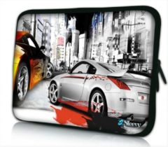 Grijze Sleevy 13.3 laptophoes straatrace - laptop sleeve - laptopcover - Collectie 250+ designs