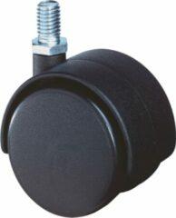 Klusgereedschapshop Meubelzwenkwiel zwart kunststof met verzinkte draadstift M8X15mm D=40mm 40kg