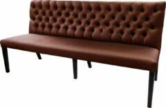 Bruine Bankstyle.nl Gecaptionneerde design eetkamerbank, 240 cm breed, in verschillende kleuren. Kleur: Brown
