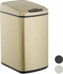 Relaxdays prullenbakje met sensor - prullenbak badkamer - 12 liter - vuilbak - afvalemmer Rose goud